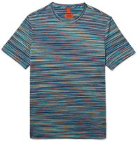Missoni Slim Fit Space Dyed Knitted Cotton T Shirt Blue