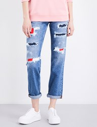 Tommy Jeans Distressed 90S Mom Fit High Rise Bright Blue Destruction.