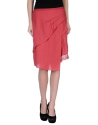 Liviana Conti Knee Length Skirts Coral