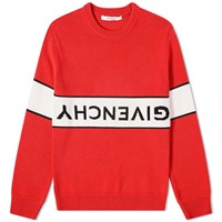 Givenchy Reverse Logo Cotton Crew Knit Red