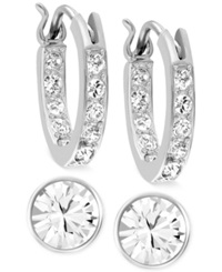 Swarovski Rhodium Plated Crystal Hoop And Round Stud Earring Set