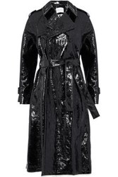 Sonia Rykiel Double Breasted Crinkled Coated Cotton Blend Trench Coat Black