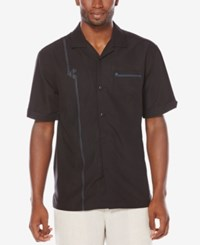 Cubavera Men's Texture Embroidered Shirt Jet Black