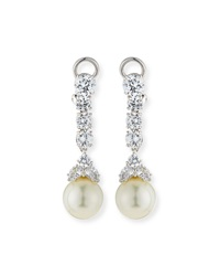 Cz And Simulated Pearl Long Drop Earrings Fantasia By Deserio