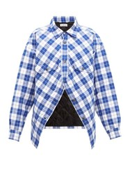 Balenciaga Swing Canadian Checked Cotton Flannel Shirt Blue