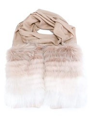 Elie Saab Fur Trim Scarf Nude And Neutrals