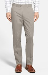 Bensol Men's Big And Tall Washed Trim Fit Stretch Cotton Trousers Tan