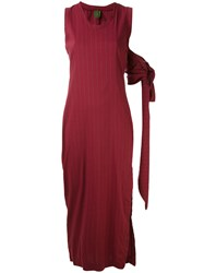 Romeo Gigli Vintage Long Pinstripe Dress Red