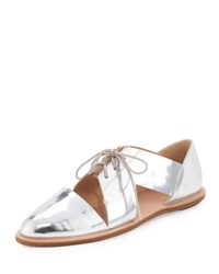 Loeffler Randall Willa Metallic Cutout Oxford Flat Silver