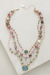 Anthropologie Layered Gemstone Necklace Pyrite Lab Pink Opal