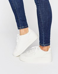 New Look Leather Flatform Trainer White
