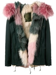 Mr And Mrs Italy Fur Lining Short Parka Pink And Purple