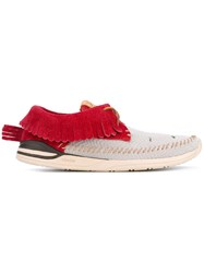 Visvim Fringed Boat Shoes Men Calf Leather Leather Polyamide 11 Red