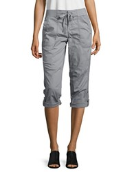 Lord And Taylor Petite Roll Tab Cropped Pants Grey