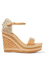 Christian Louboutin Madmonica 120 Spiked Raffia And Leather Espadrille Wedge Sandals It34