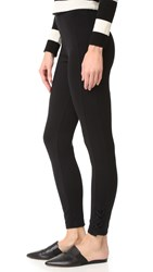 Splendid French Terry Side Lace Up Leggings Black