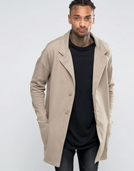 Asos Jersey Duster Jacket In Beige Tawny