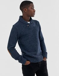 Pier One Knitted Jumper In Blue With Shawl Collar