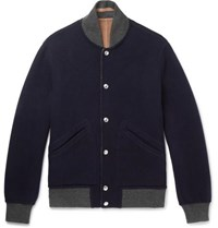 Brunello Cucinelli Reversible Wool And Cashmere Blend Bomber Jacket Navy