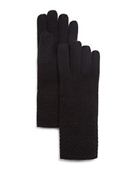 Bloomingdale's C By Waffle Knit Cashmere Gloves Black