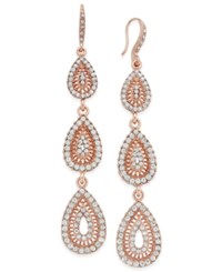 Inc International Concepts Rose Gold Tone Pave Filigree Triple Drop Earrings Only At Macy's