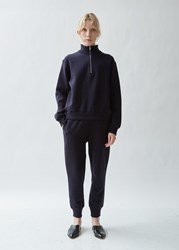 The Row Angeles Soft Brushed Cotton Terry Pant Dark Navy