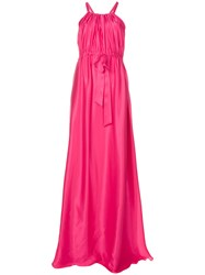 Lanvin Flared Cinched Waist Gown Pink And Purple