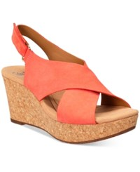 Clarks Collections Women's Annadel Eirwyn Wedge Sandals Women's Shoes Coral