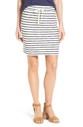 Women's Caslon Drawstring Waist Knit Skirt Ivory Navy Stripe