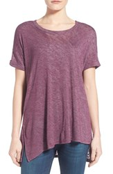 Women's Bobeau Short Sleeve Asymmetrical Knit Top Purple Italian