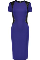 Vionnet Leather Paneled Jersey Dress Purple