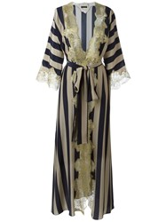 Rosamosario Lace Application Striped Dressing Gown Blue