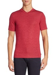 Armani Collezioni Striped V Neck Tee Berry