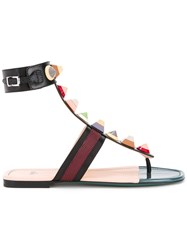 Fendi Studded Flat Sandals Black
