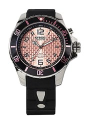 Kyboe Power Black Silicone And Stainless Steel Strap Watch 48Mm Black Pink