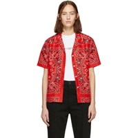 Alexander Wang Red Silk Bandana Hawaiian Shirt