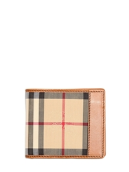 Burberry Classic Check Nylon And Leather Wallet Camel