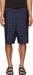 Public School Navy Blue Houndstooth Double Layer Shorts