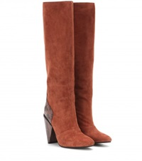 See By Chloe Suede And Snakeskin Knee High Boots Red
