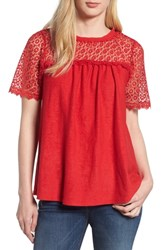 Everleigh Lace Mixed Media Top Red