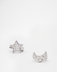 Asos Mismatch Mini Moon And Star Hoop Earrings With Cubic Zirconia Crystal
