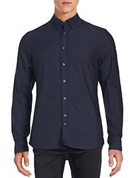 J. Lindeberg Solid Button Down Cotton Shirt Navy
