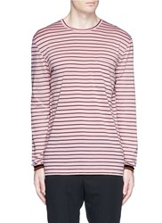 Lanvin Patch Pocket Stripe Long Sleeve T Shirt Pink