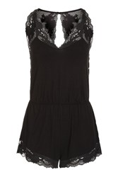 Topshop Jersey Lace Trim Teddy Black