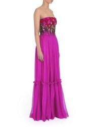 Dolce And Gabbana Strapless Embroidered Silk Chiffon Gown Medium Purple