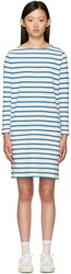 Ymc Ecru And Blue Breton Stripe Dress