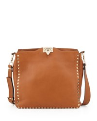 Rockstud Flip Lock Messenger Bag Tan Valentino