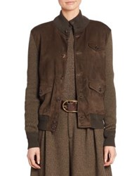 Ralph Lauren Suede Front Wool And Cashmere Jacket Olive