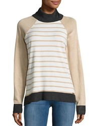Calvin Klein Contrast Trim Striped Turtleneck Sweater Heather Latte
