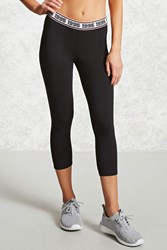 Forever 21 Active 1995 Capri Leggings Black Neon Coral